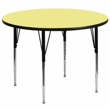 Flash Furniture XU-A60-RND-YEL-T-A-GG 60'' Round Activity Table with Yellow Thermal Fused Laminate Top and Standard Height Adjustable Legs