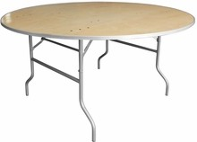 60'' Round HEAVY DUTY Birchwood Folding Banquet Table with METAL Edges