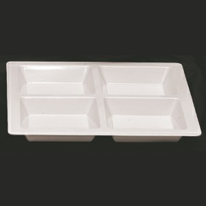 Thunder Group PS5104W Passion White Melamine 4 Compartment Square Tray, 13 1/2""