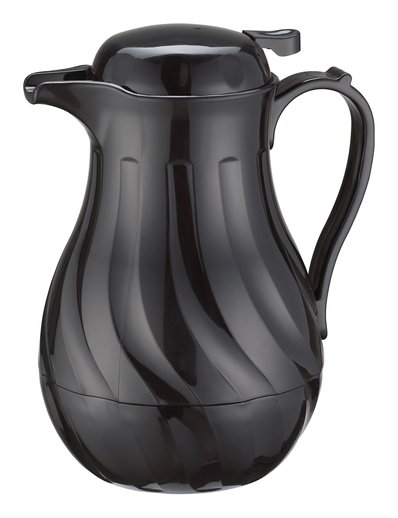 Winco VSW-64K Black Insulated Swirl Design Beverage Server 64 oz.