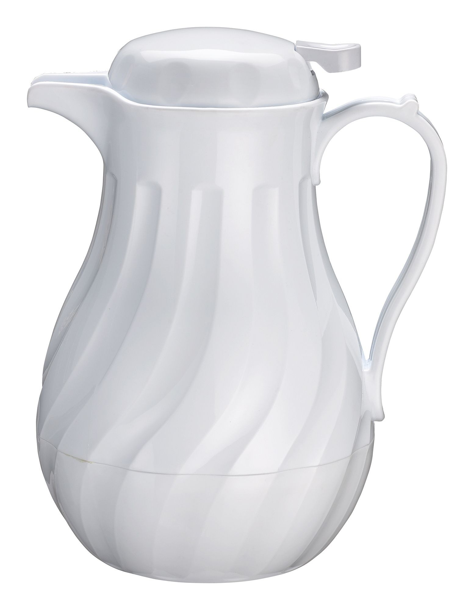 Winco VSW-64W White Insulated Swirl Design Beverage Server 64 oz.