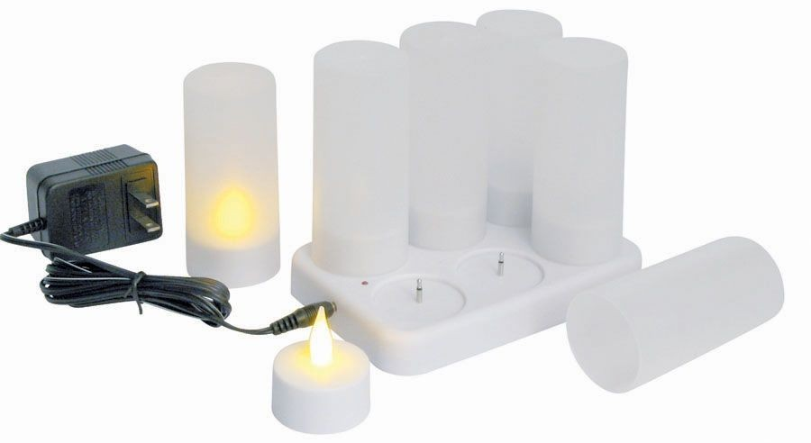 6pcs/set Rechargable Tealight with Plastic Cup (battery included)