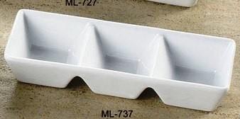 "Yanco ML-737 Mainland 7"" x 2 1/2"" x 1 1/4"" Three Divided Tray"
