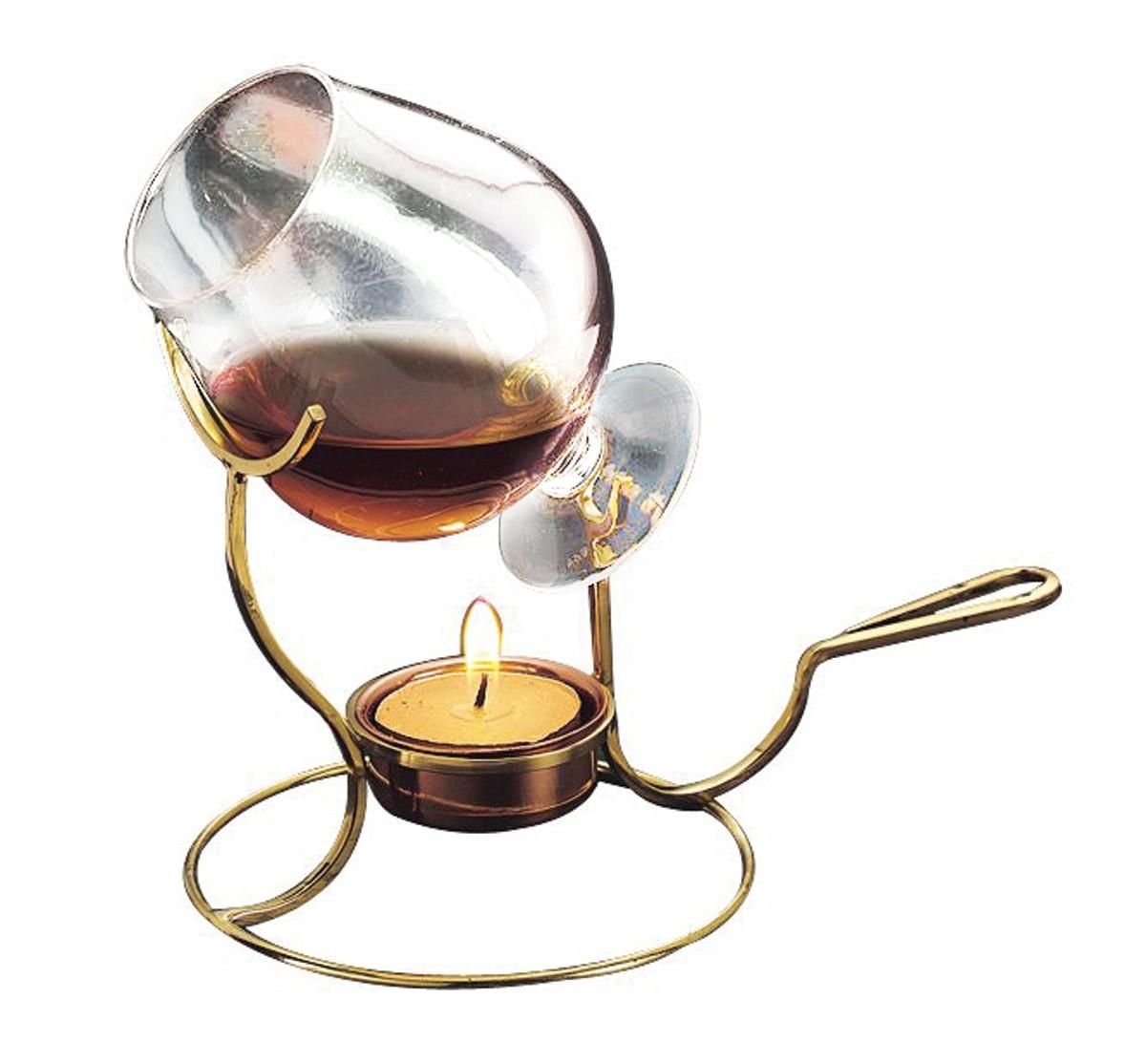 Old Dutch International 839 Brandy Warmer with Tea Light & Glass Snifter