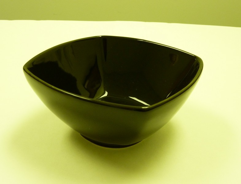 "Yanco CA-407BK Carnival Black 7 1/2"" x 3 1/4"" Square Salad Bowl 32 oz."