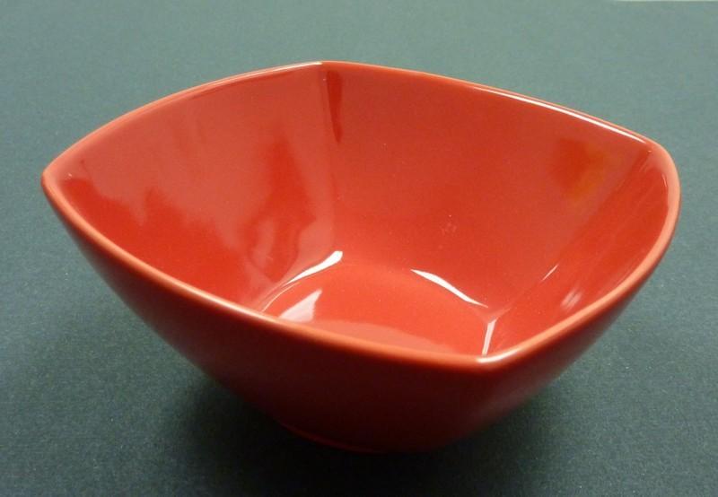 "Yanco CA-407RD Carnival Red 7 1/2"" x 3 1/4"" Square Salad Bowl 32 oz."