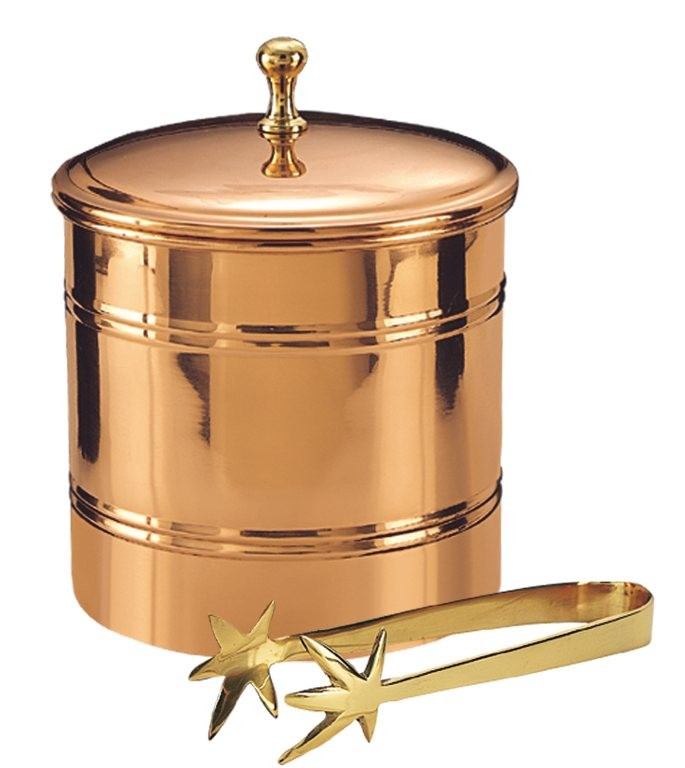 Old Dutch International 885 Decor Copper Lined Ice Bucket with Brass Tongs, 3 Qt.