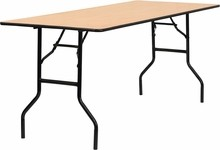 72'' Rectangular Wood Folding Banquet Table with Clear Coated Finished Top