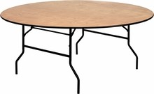 Flash Furniture YT-WRFT72-TBL-GG 72'' Round Wood Folding Banquet Table with Clear Coated Finished Top