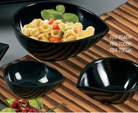 "Yanco RM-708BK Rome 8"" Tear Drop Shape Black Melamine Bowl 26 oz."