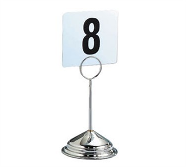 "TableCraft 1308 8"" Stainless Deluxe Table Number Stand"