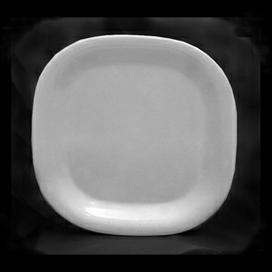 "Thunder Group PS3008W Passion White Melamine Round Square Plate 8 1/4"" x 8 1/4"""