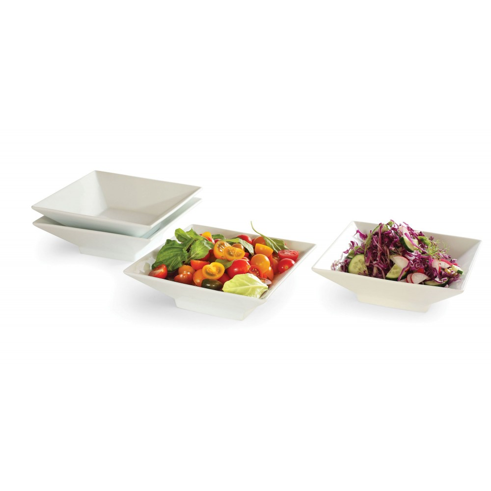 "Rosseto CP002 8.5"" Square Porcelain Bowl, 4 Pieces"
