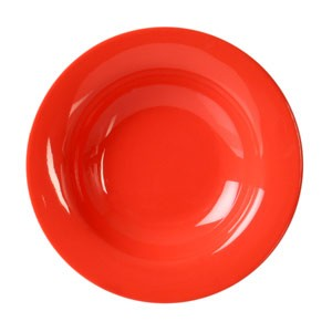 "Thunder Group CR5077RD Orange Melamine Wide Rim 8 oz. Salad Bowl 7-3/4"""