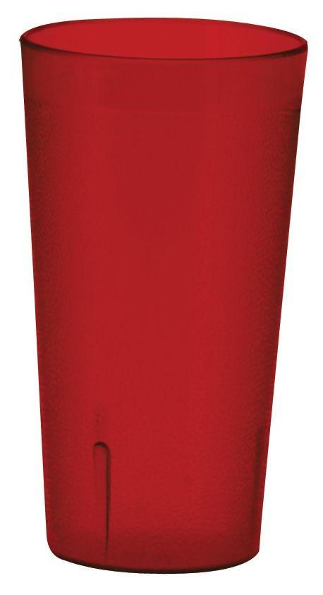 Winco PTP-08R Pebbled 8 oz. Red Plastic Tumbler