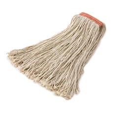 8-Ply Cut-End Cotton Mop Head, White, 16 oz. 1-in. Orange Headband