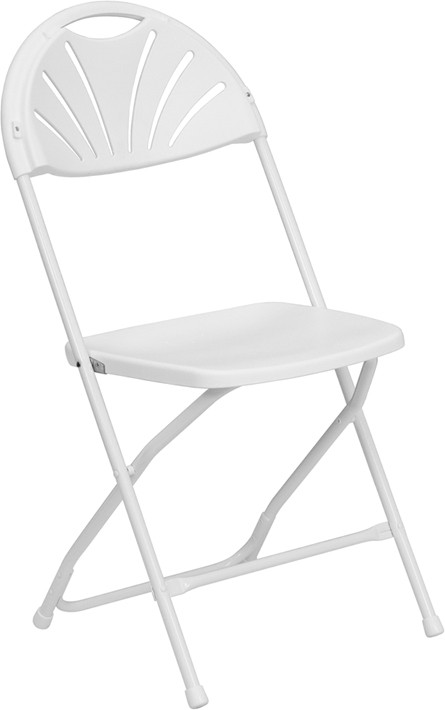 800 lb. HERCULES Series Fan Back White Plastic Folding Chair