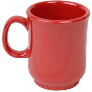 Pure Red Melamine Bulbous Mug, 8 Oz, 3