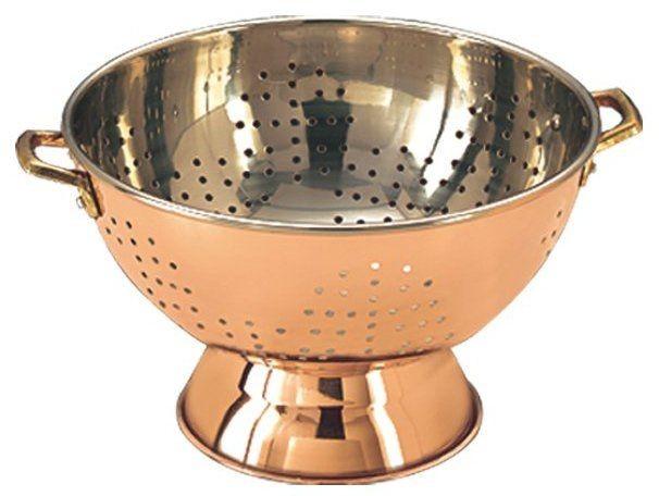 """Old Dutch International 769 Decor Copper Footed Colander/Centerpiece 9"""""""