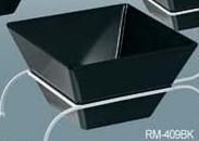"""Yanco RM-409BK Rome 9 1/2"""" x 5 1/4"""" Square Black Melamine Bowl 4 Qt."""