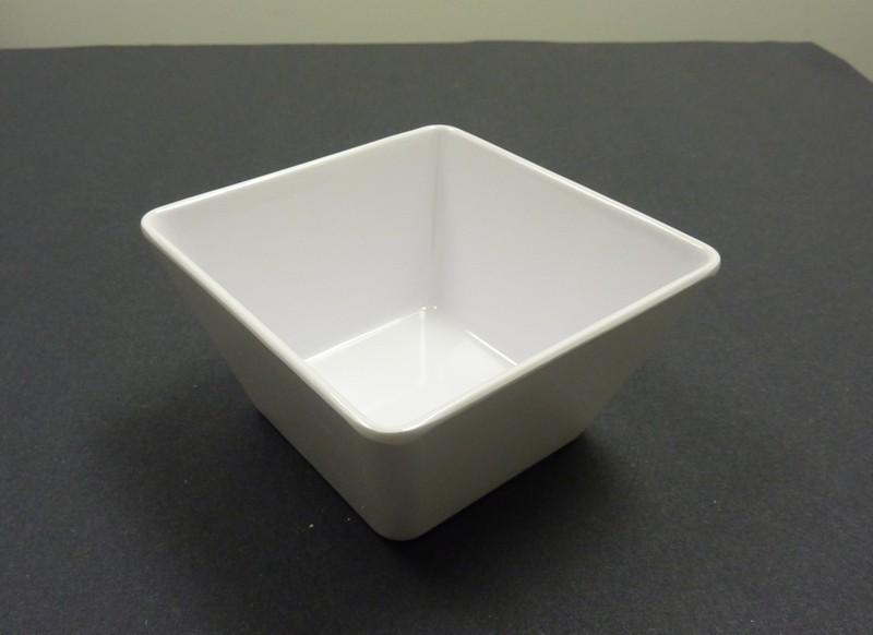 "Yanco RM-409 Rome 9 1/2"" x 5 1/4"" Square White Melamine Bowl 4 Qt."