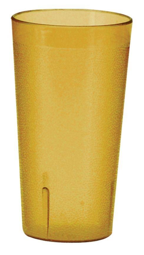 Winco PTP-09A Pebbled 9.5 oz. Amber Plastic Tumbler