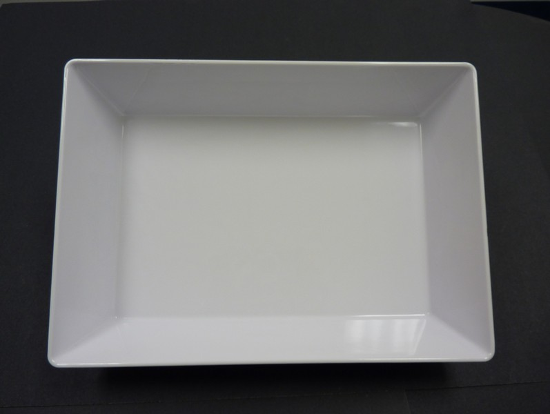 "Yanco RM-610 Rome 9 3/4"" x 5 7/8"" x 2 1/2"" Rectangular White Melamine Deep Plate"