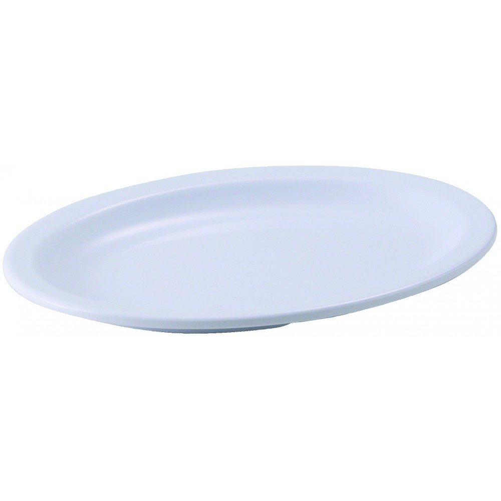 "Winco MMPO-96W White Melamine 9 3/4"" x 6 3/4"" Oval Platter with Narrow Rim"