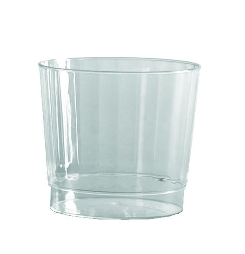 9 OZ Squat Fluted Plastic Tumbler-Classic Crystal