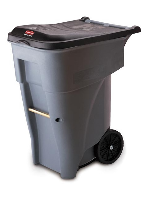 95 Gallon Rollout Waste Container, Gray with Black Top