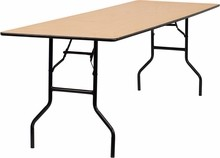 Flash Furniture YT-WTFT30X96-TBL-GG 96'' Rectangular Wood Folding Banquet Table with Clear Coated Finished Top