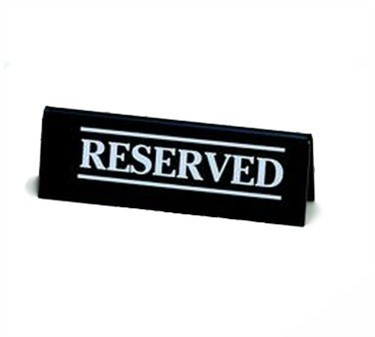 "TableCraft 2060A Acrylic ""Reserved"" Table Tent 2"" x 6"""