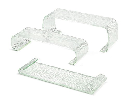 3 Piece Rectangle Acrylic Riser Set with Curved Legs