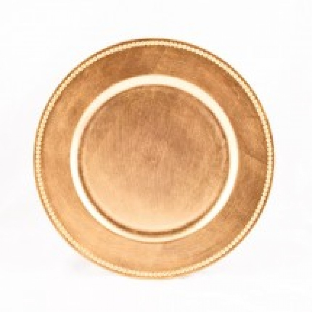 "Koyal 424468 Beaded Gold 13"" Charger Plate"