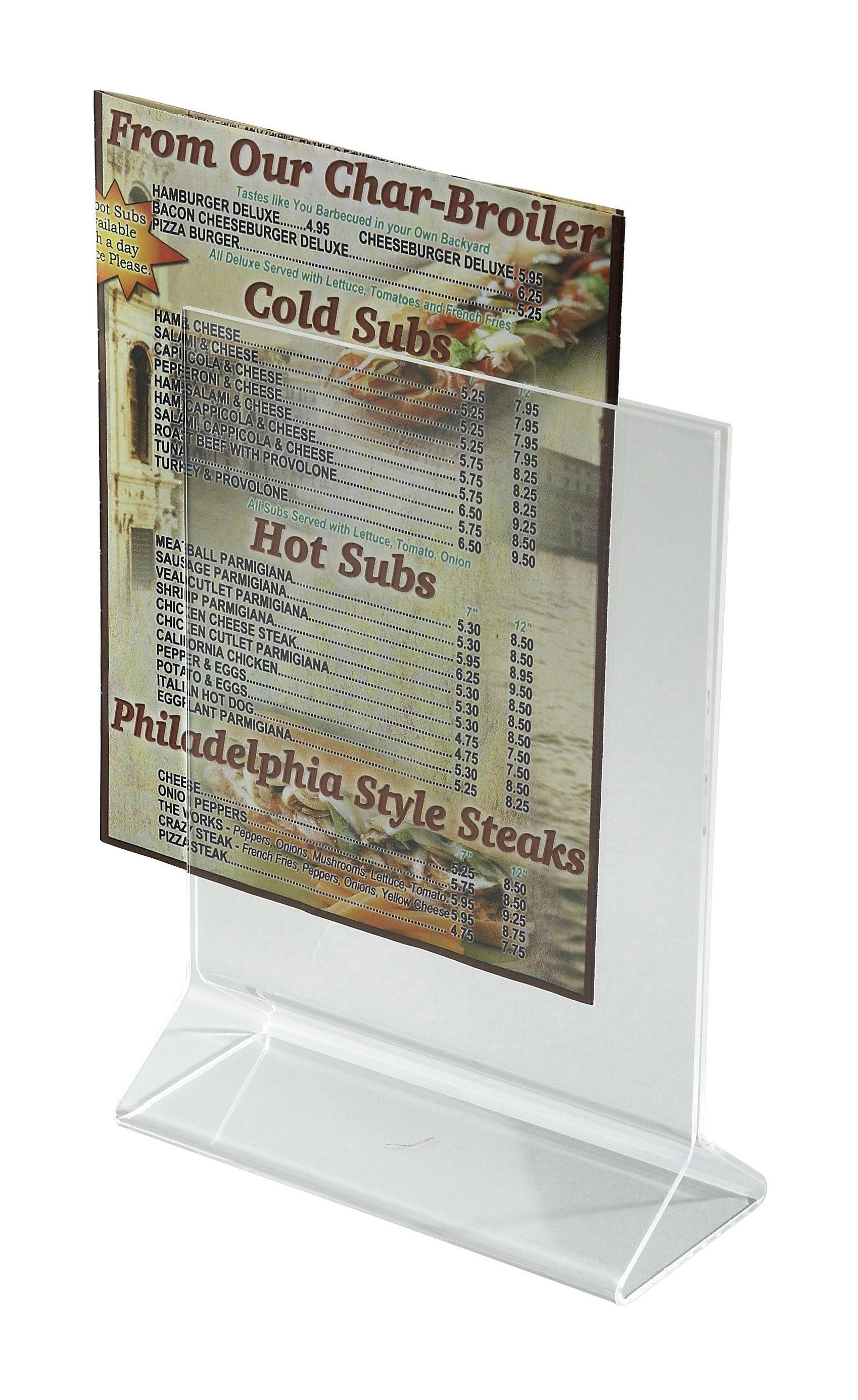 "Winco ATCH-57 Acrylic Menu Card Holder Displayette 5"" x 7"""