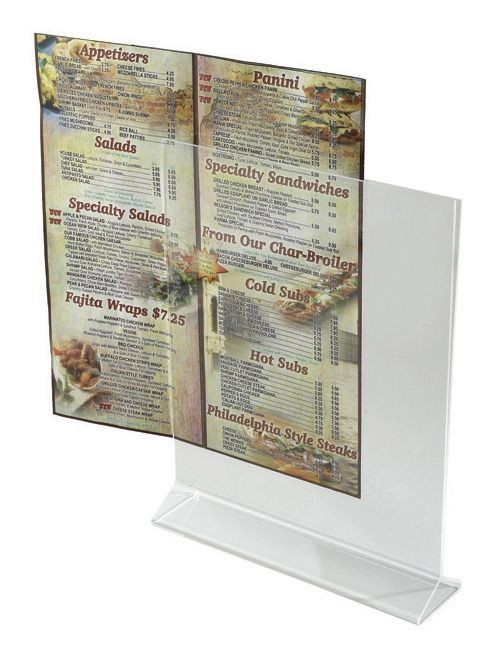"Winco ATCH-811 Acrylic Table Card Holder Displayette 8"" x 11"""