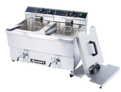 Adcraft DF-12L/2 Double Tank Countertop Electric Deep Fryer with Faucet