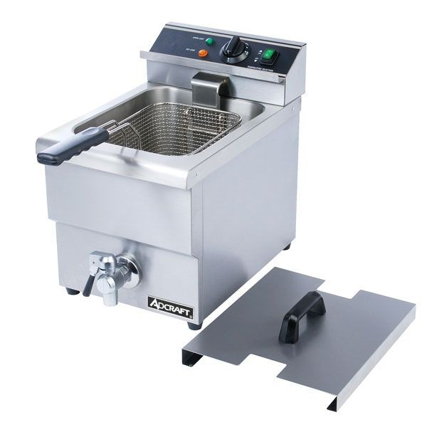 Adcraft DF-12L Single Tank Countertop Electric Deep Fryer with Faucet