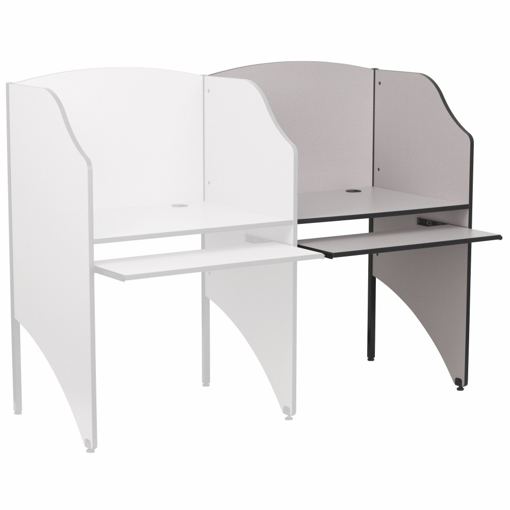 Flash Furniture MT-M6202-GY-ADD-GG Add-On Study Carrel/Nebula Grey Finish