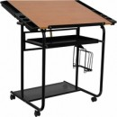 Flash Furniture NAN-JN-2739-GG Adjustable Drawing and Drafting Table with Black Frame