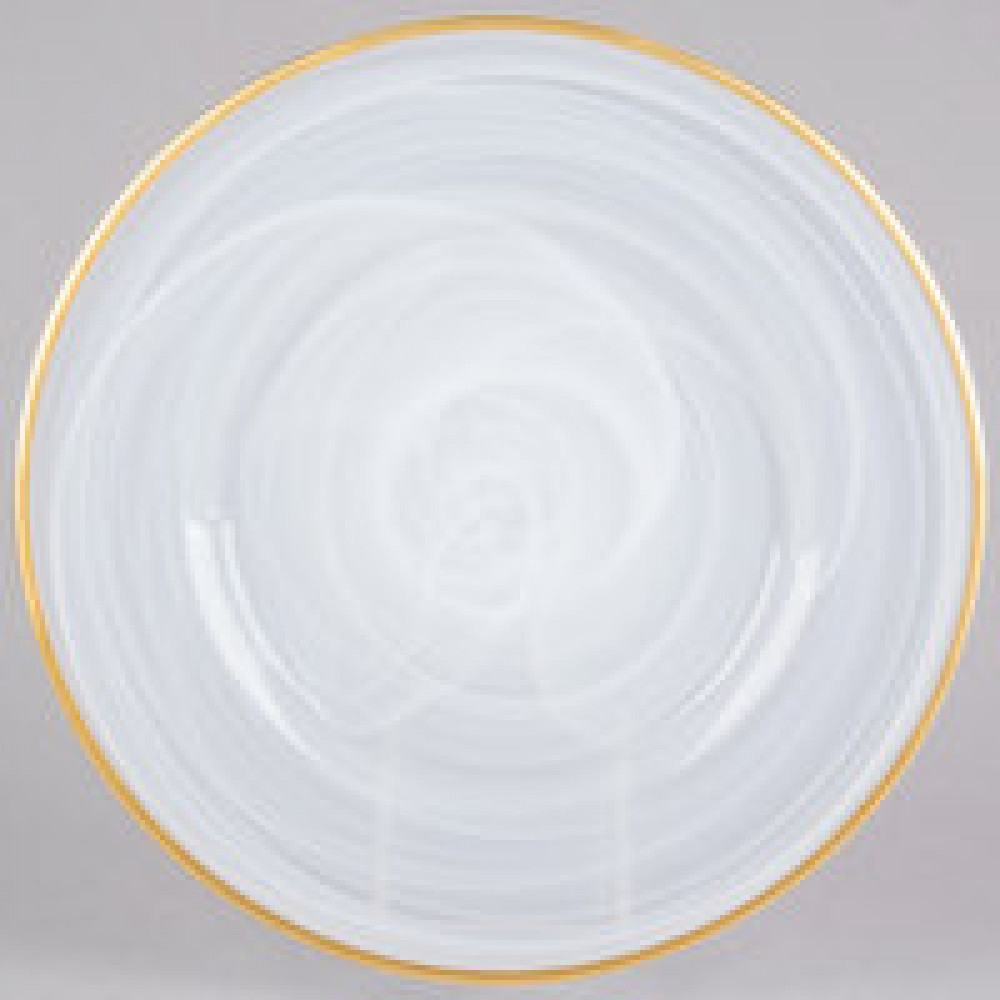 "Jay Import 1470353 Alabaster Gold Rim Glass 13"" Charger Plate"