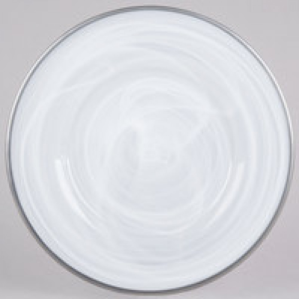 Jay Import 1470354 Alabaster Silver Rim Glass 13 Quot Charger