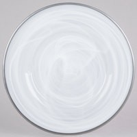"Jay Import 1470354 Alabaster Silver Rim Glass 13"" Charger Plate"