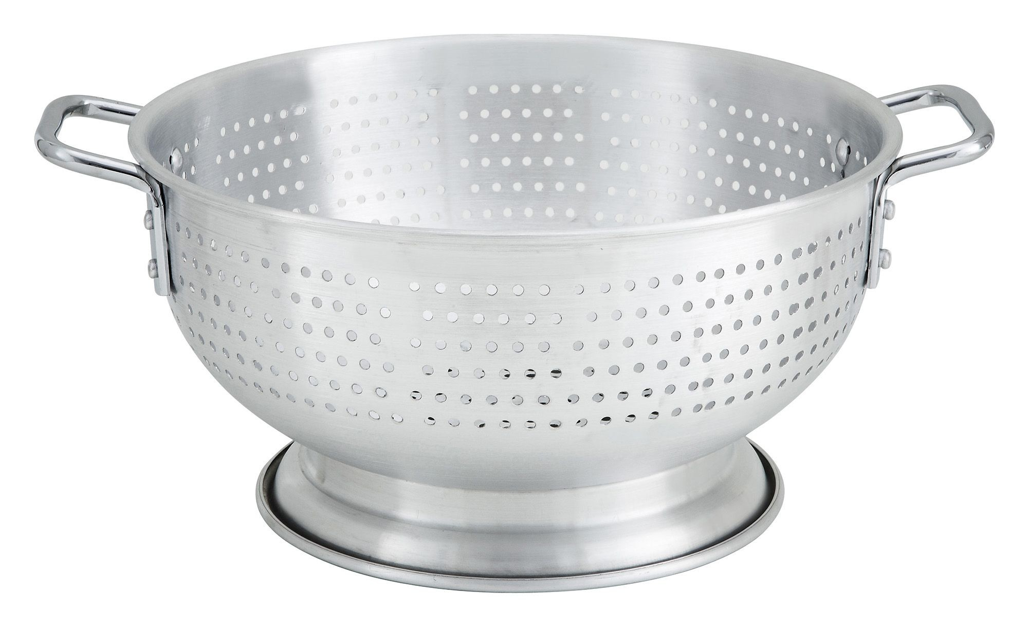 Winco ALO-11BH 11-Quart Aluminum Colander with Base and Handles