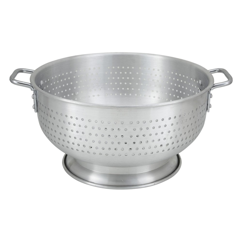 Winco ALO-16BH Aluminum Colander with Base and Handles 16 Qt.