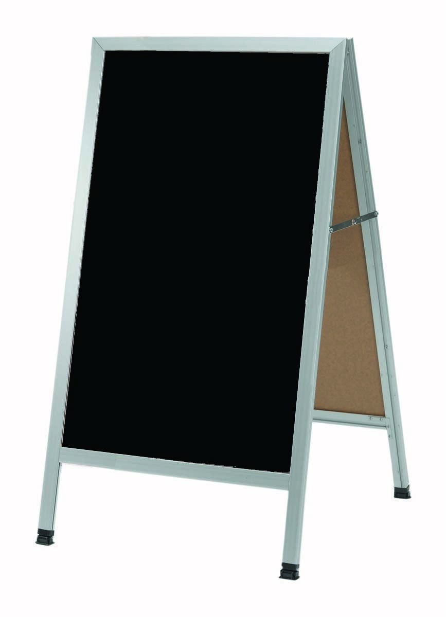 "Aarco Products AA-1B Aluminum A-Frame Sidewalk Black Composition Chalkboard 42""H x 24""W"