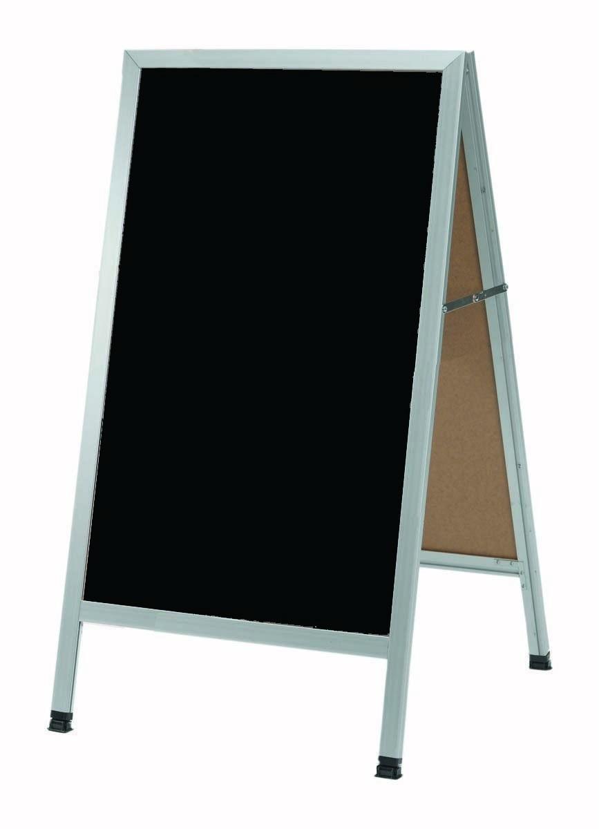 "Aarco Products AA-1B Aluminum A-Frame Sidewalk Black Composition Chalkboard  24""W x 42""H"