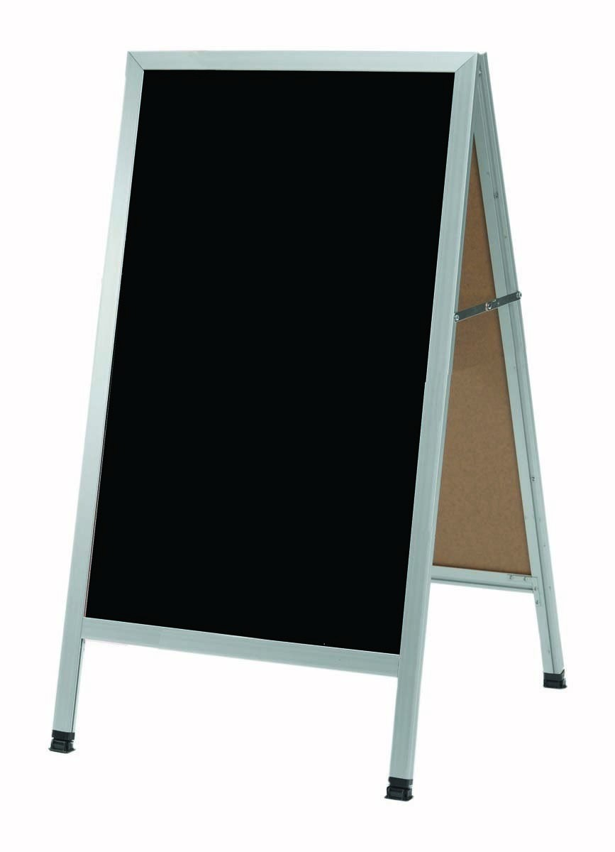 "Aarco Products AA-5SB Aluminum A-Frame Sidewalk Black Porcelain Markerboard 42""H x 24""W"