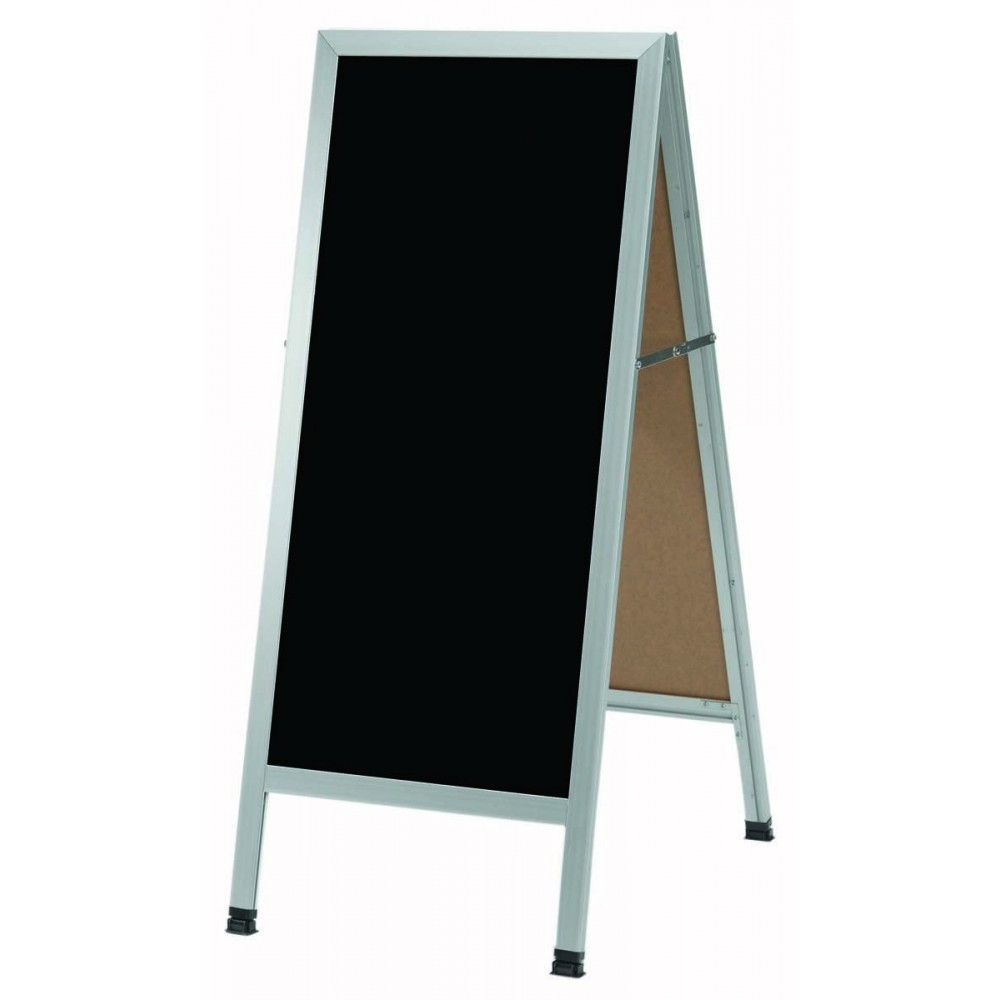 "Aarco Products AA-311SB Aluminum A-Frame Sidewalk Porcelain Markerboard, Black, 42""H x 18""W"