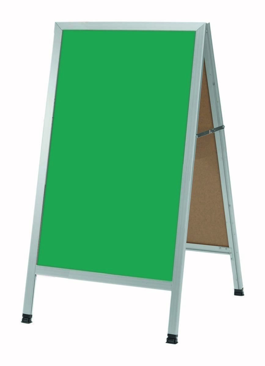 "Aarco Products AA-1SG Aluminum A-Frame Green Porcelain Chalkboard, 42""H x 18""W"